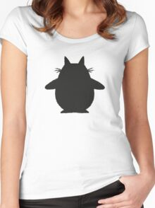 Totoro (black) Women's Fitted Scoop T-Shirt