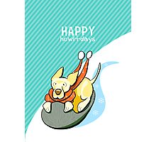 Yellow Lab Modern Howl-i-day Sled Ride Photographic Print