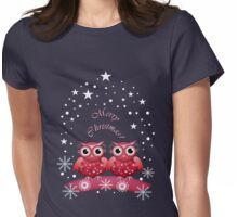 Two Owls Merry Christmas Tee Womens Fitted T-Shirt