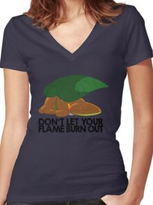 Don't let your flame burn out Women's Fitted V-Neck T-Shirt