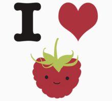 Cute Kawaii I heart Raspberries Kids Tee
