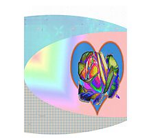Rainbow rose with heart  Photographic Print