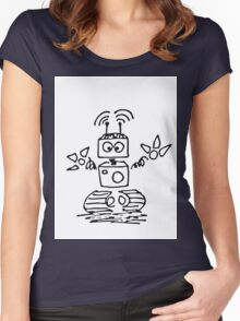 Black Doodle robot cyborg Women's Fitted Scoop T-Shirt