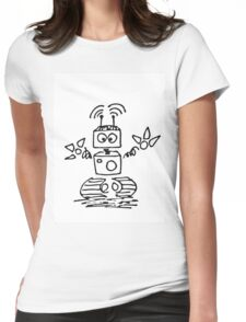 Black Doodle robot cyborg Womens Fitted T-Shirt