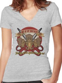 Day of the Squirrel - Sears Squirrel Commercial Parody - Coupon Cutting Squirrels Revolt - Nut Up My Brothers Women's Fitted V-Neck T-Shirt