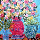 spring flowers on a  table by catherine walker