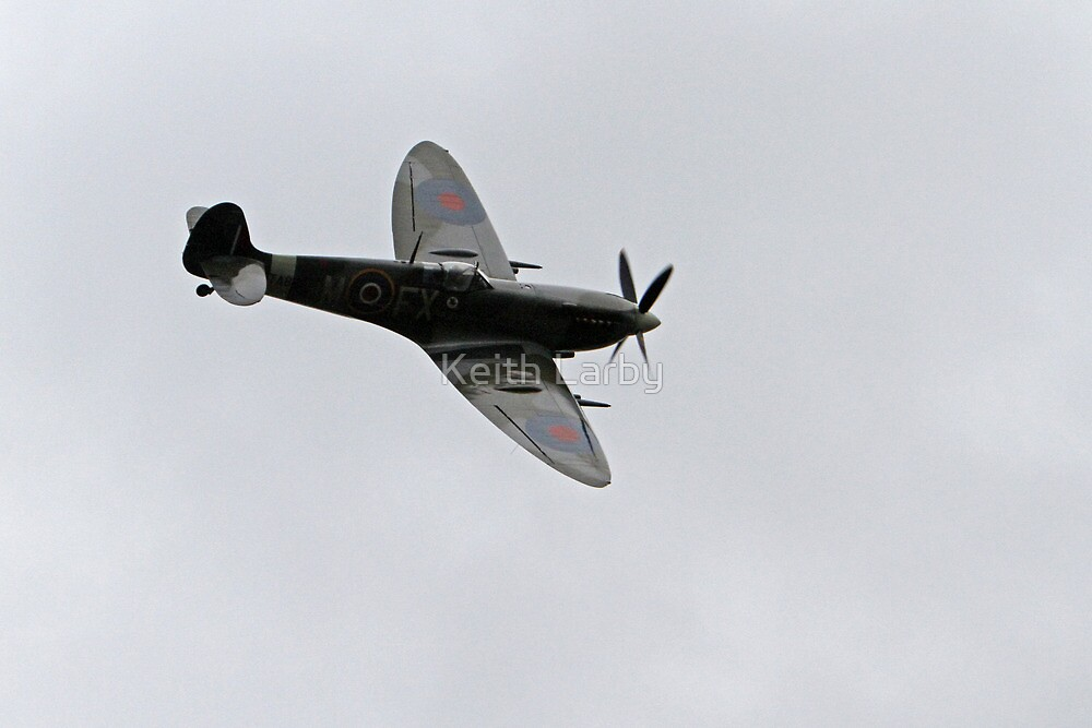 A spitfire flies over Biggin Hill by Keith Larby