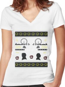 Sherlock Holiday Sweater Women's Fitted V-Neck T-Shirt