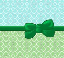 Artistic Quatrefoil - Ribbon, Bow - Green White Blue by sitnica