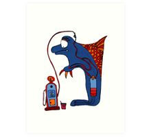 Dolphin, blue, sea, gas, station, comic, kids, love, ocean Art Print