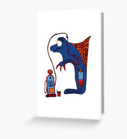 Dolphin, blue, sea, gas, station, comic, kids, love, ocean Greeting Card