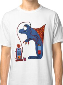 Dolphin, blue, sea, gas, station, comic, kids, love, ocean Classic T-Shirt
