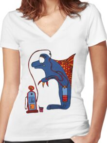 Dolphin, blue, sea, gas, station, comic, kids, love, ocean Women's Fitted V-Neck T-Shirt