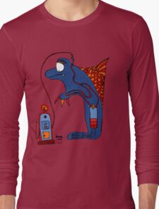 Dolphin, blue, sea, gas, station, comic, kids, love, ocean Long Sleeve T-Shirt