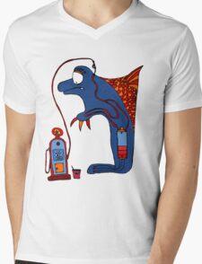 Dolphin, blue, sea, gas, station, comic, kids, love, ocean Mens V-Neck T-Shirt