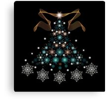 Christmas Tree on Black Background Canvas Print