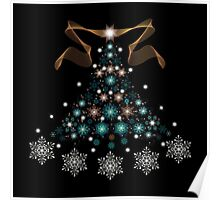 Christmas Tree on Black Background Poster