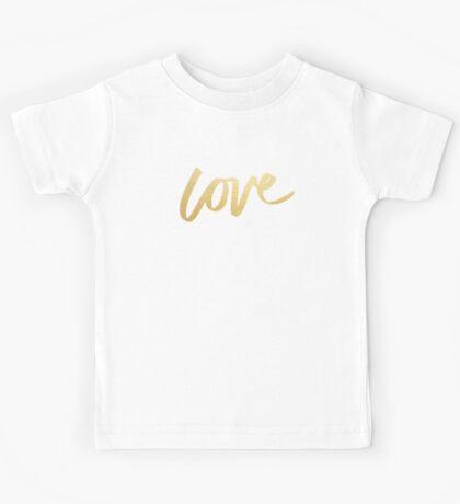 Love Gold Turquoise Brush Type Kids Tee