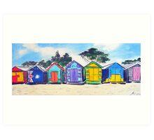 Beach Huts Colourful Art Print