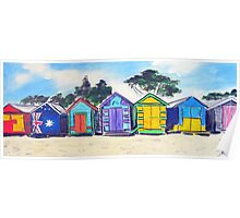 Beach Huts Colourful Poster