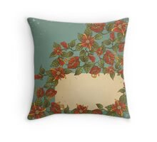 Vintage card with flowers.  Throw Pillow