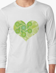 Green texture with flowers and paisley Long Sleeve T-Shirt