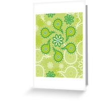 Green texture with flowers and paisley Greeting Card