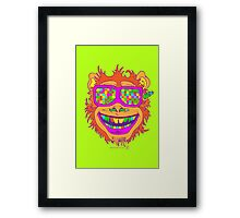 A funny monkey face colored glasses.  Framed Print