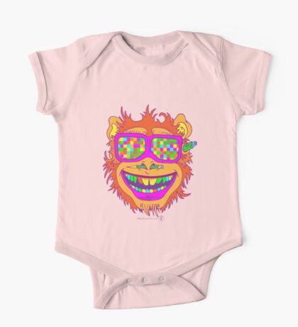A funny monkey face colored glasses.  One Piece - Short Sleeve