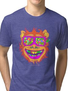 A funny monkey face colored glasses.  Tri-blend T-Shirt