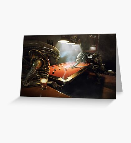 Alien vs Predator Pool Greeting Card