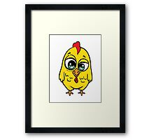 Funny yellow crazy chicken.  Framed Print