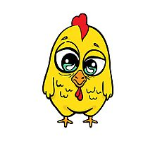 Funny yellow crazy chicken.  Photographic Print