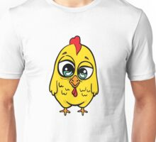 Funny yellow crazy chicken.  Unisex T-Shirt