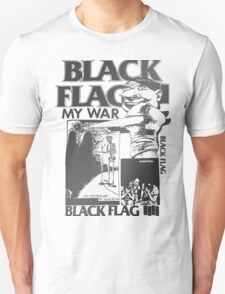 Retro Punk Restyling   - Black Flag silver T-Shirt