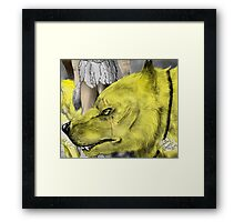 Golden werewolf head Framed Print