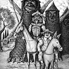 Don Quixote and Sancho Panza ink pen drawing by Vitaliy Gonikman