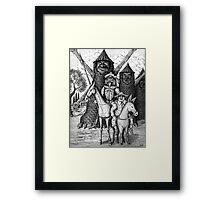 Don Quixote and Sancho Panza ink pen drawing Framed Print