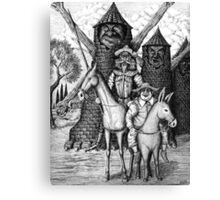 Don Quixote and Sancho Panza ink pen drawing Canvas Print
