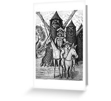 Don Quixote and Sancho Panza ink pen drawing Greeting Card