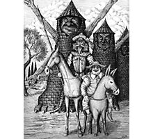 Don Quixote and Sancho Panza ink pen drawing Photographic Print