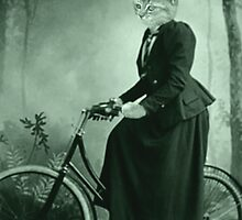 Bike Riding cat women by Rob Cox