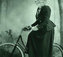 Bike Riding cat women by Rob Cox