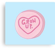 Grow Up Loveheart Sweet - Pink Canvas Print