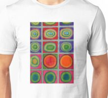 Green Grid filled with Circles and intense Colors Unisex T-Shirt