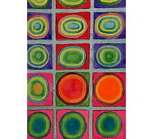 Green Grid filled with Circles and intense Colors Photographic Print