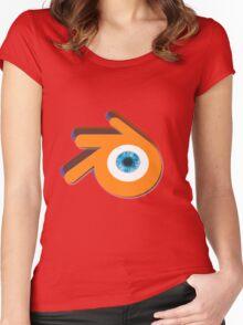 Orange eye with blue eyeball (Blender Logo) Women's Fitted Scoop T-Shirt