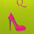 Stylish pink shoe for her, monogram Q by Monartcanadian