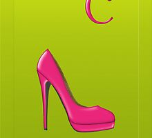 Stylish pink shoe for her, monogram C by Monartcanadian