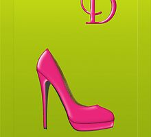 Stylish pink shoe for her, monogram D by Monartcanadian